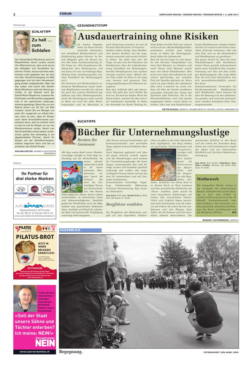 Sempacher Woche/Surseer Woche/Trienger Woche - Routen fuer Geniesser