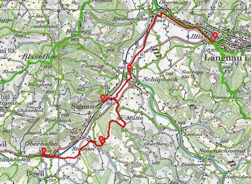 Routenplan erstellt mit SchweizMobil