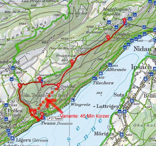 Routenplan erstellt mit www.schweizmobil.ch