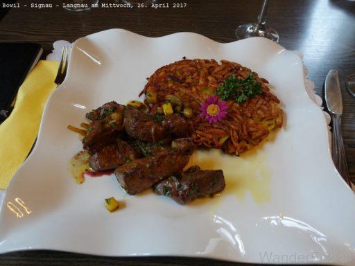 sehr gut essen im Roten Thurm, Signau