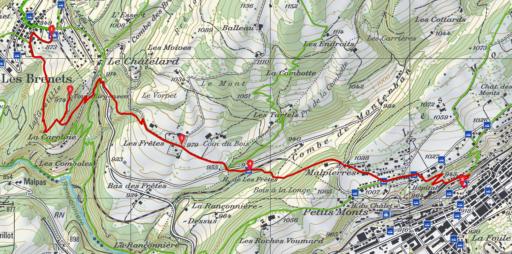 Routenplan les Brenets - Le Locle