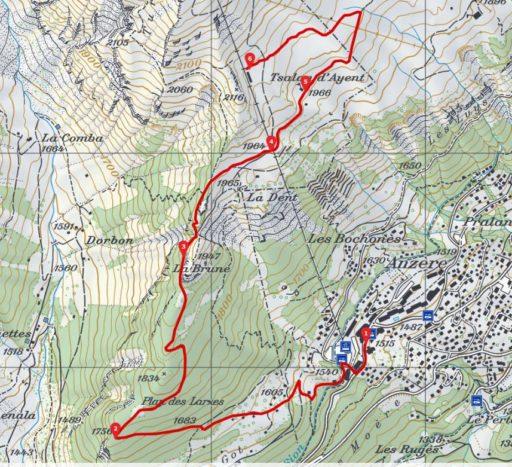 Routenplan_Anzère Winterwanderung