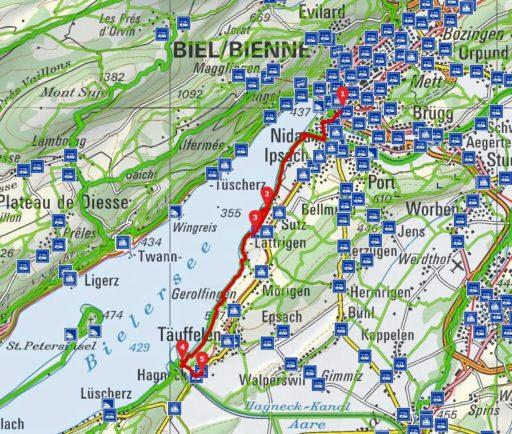 Route Biel - Hagneck-