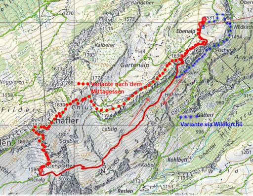 Routenplan - Ebenalp - Altenalp - Ebenalp
