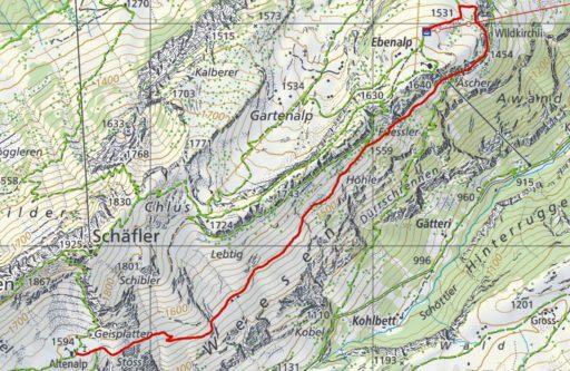Routenplan Ebenalp - Wildkirchli - Altenalp
