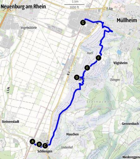 Route Schliengen - Auggen - Müllheim