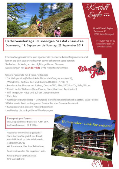 Flyer Herbstwanderung Saas Fee