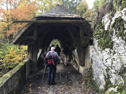 Romantische Holzbrücke