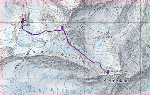 Routenplan Felskinn - Britanniahütte