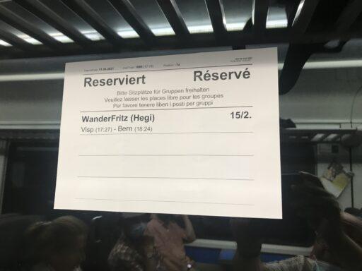 Reservation bei der SBB hat tiptop geklappt