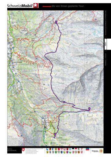 Kreuzboden - Almagelleralp - Furgstalde_Route