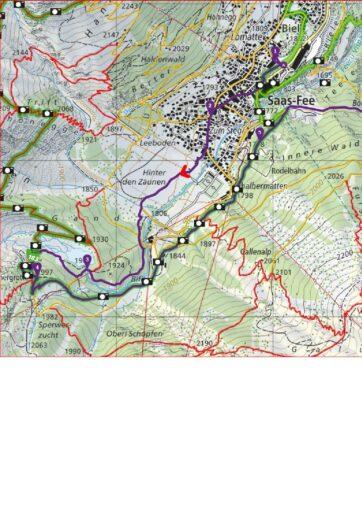 Saas Fee - Gletschergrotte - Saas Almagell_ Route